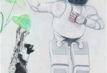 Suncokret, Asimo i mačka, akrilik na platnu, 80x60cm